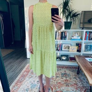 Neon and black dotted dress